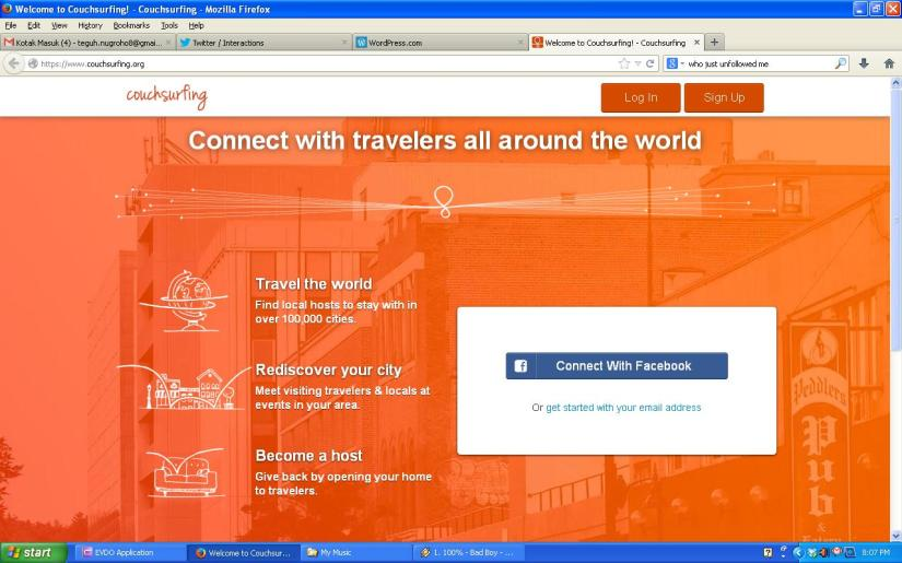 Homepage Couchsurfing