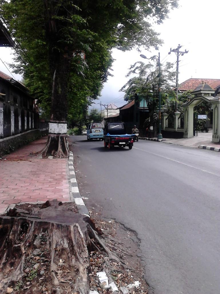 Salatiga khas dengan jalan yang tidak terlalu lebar, diapit trotoar merah yang luas dan pohon-pohon besar