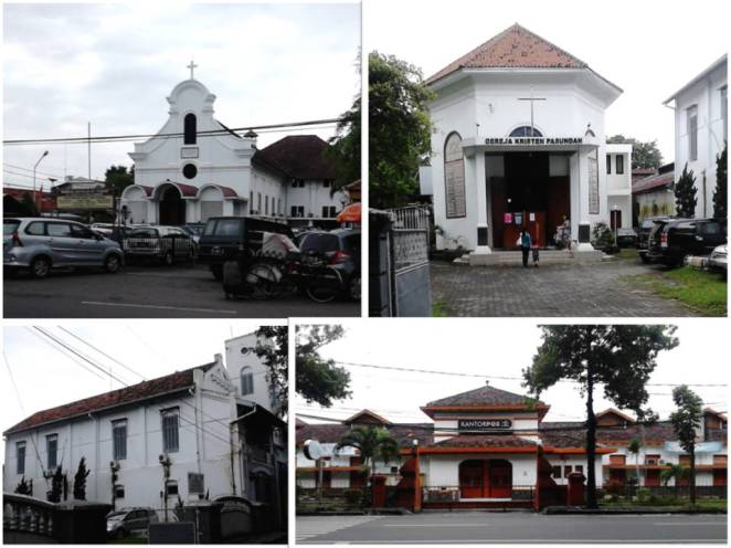 Ki-Ka Atas-Bawah: Katedral St. Yusuf, Gereja Kristen Pasundan, gedung di sisi GKP, Kantor Pos