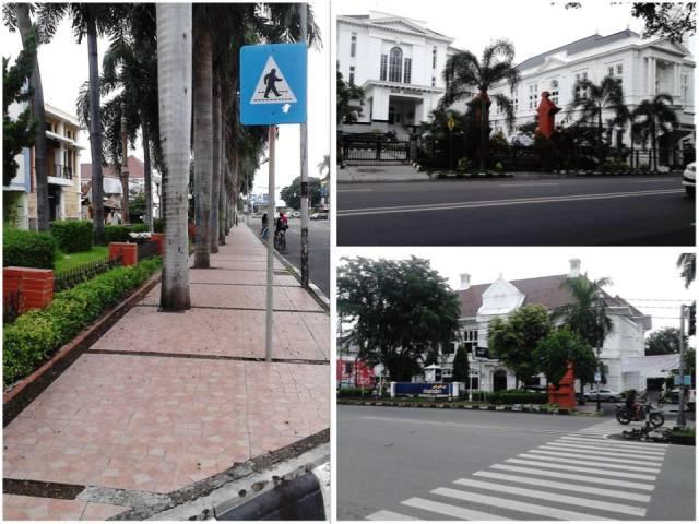 Kiri: trotoar yang lebar denga pepohonan dan taman kecil. Atas: Gedung Bank Indonesia. Bawah: Gedung Bank Mandiri