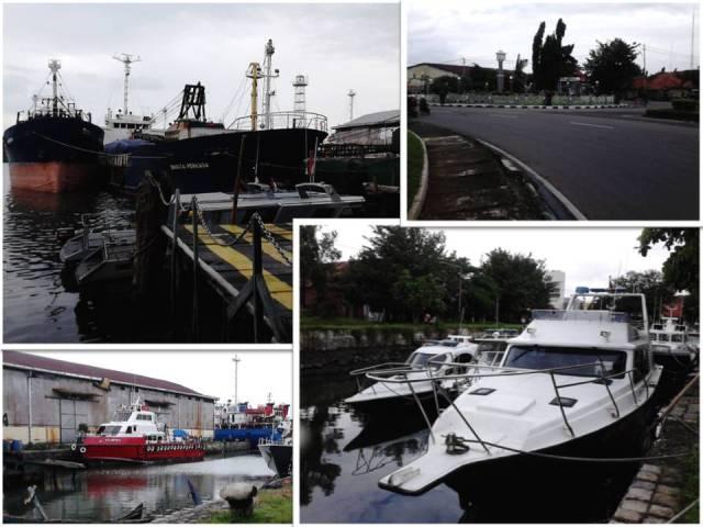 ki-ka atas-bawah: kapal-kaapal penumpang, pintu masuk pelabuhan di sisi bunderan, spot dengan banyak pemancing, dan kapal-kapal patroli