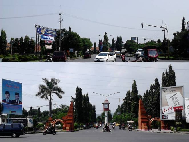 Atas: simpang dilihat dari komplek Pemda. Bawah: Jalan masuk komplek Pemda Cirebon.