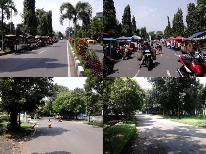 Atas: Jalan Sunan Malik. Bawah: Memasuki jalanan yang lengang, bersih, dan rindang.