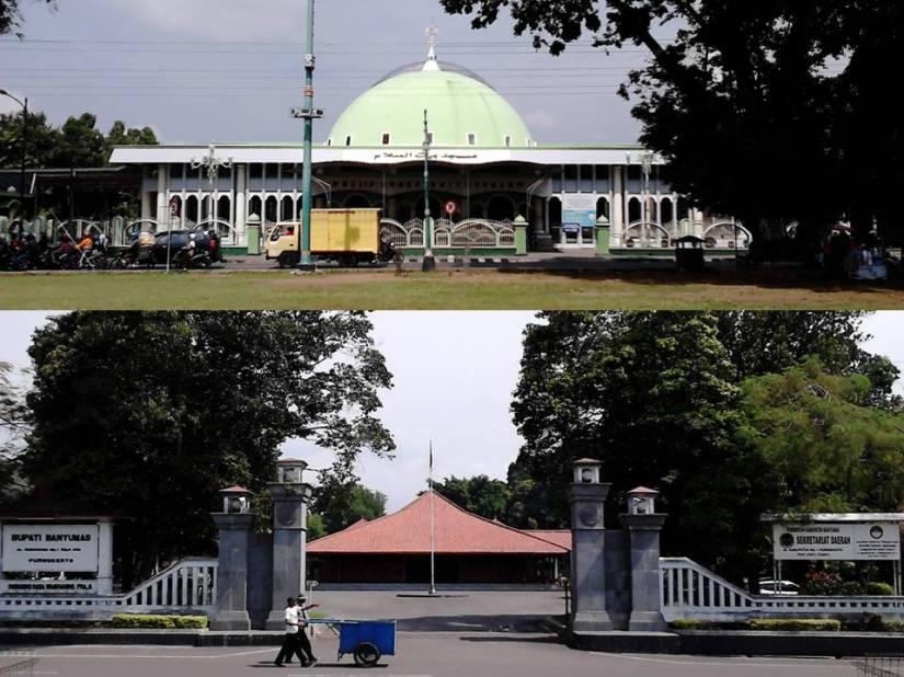 Atas: Masjid Besar Baitussalam. Bawah: Kantor Bupati Banyumas.