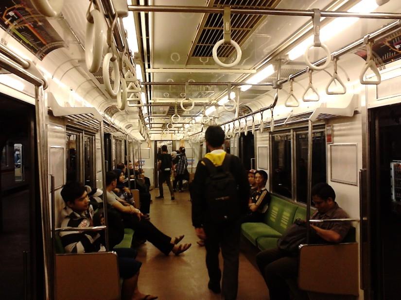 Inside the Jakarta Commuter Line at night