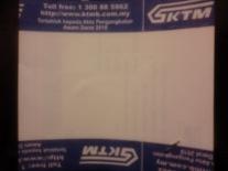 Tiket tampak belakang