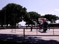 Local teenagers playing basketball