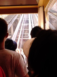 Inside the inclined lift