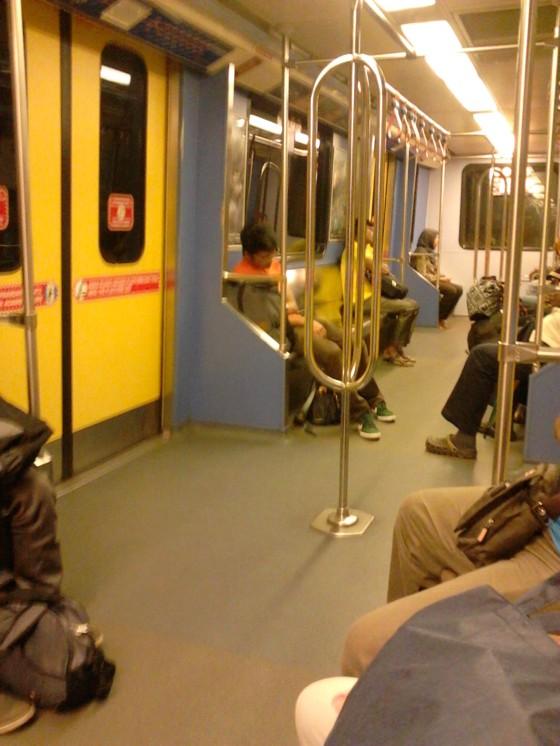 Sleepy passengers inside the LRT