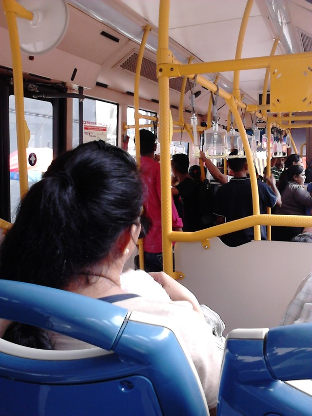 Inside the GoKL Bus. Crowded!