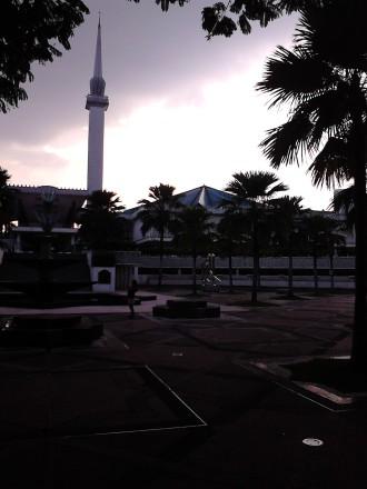 Masjid Negara Malaysia under the dark clouds