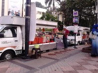 The van selling snacks and drinks