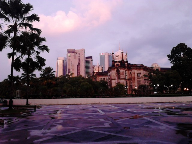 Skyscrapers view from the mosque after the rain ends