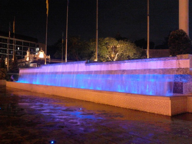 The magic fountain. It changes color dramatically.