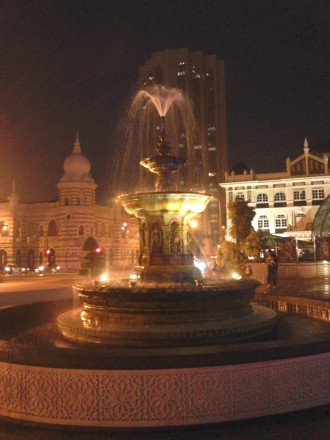A fountain at the center of Dataran Merdeka