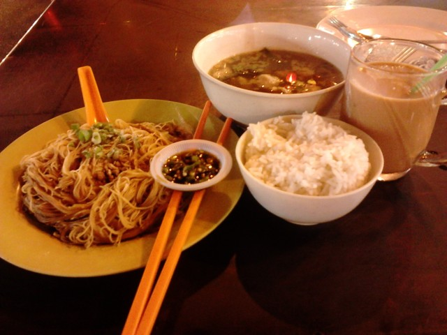 Pork Fried Noodle and Teh Tarik. Satisfying!
