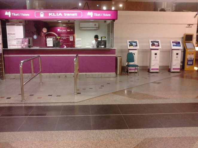 KLIA Transit station at KL Sentral. You can see the locket and the vending machines.