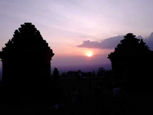 The golden sunset between the two temples