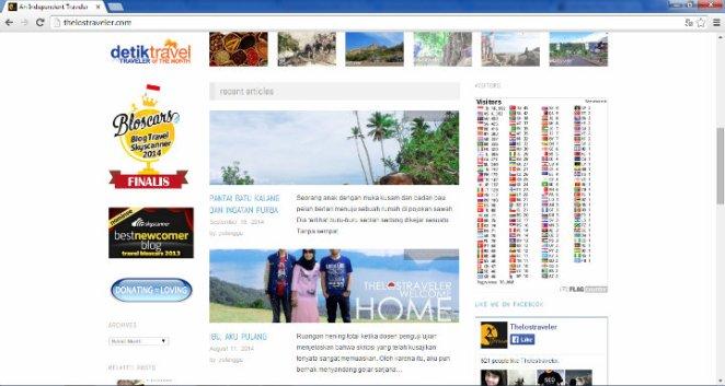 Tulisan-tulisan terbaru, daftar penghargaan, badge Facebook, dan statistik per negara