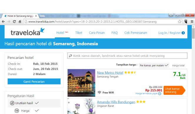 Penampilan menu pencarian hotel di Traveloka
