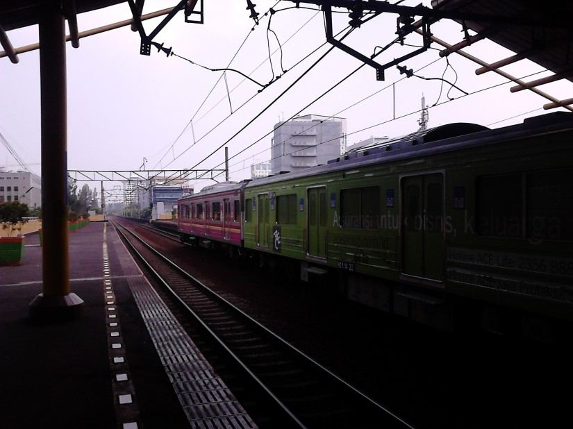 The Kota - Bekasi train passing by at Gondangdia Station, Jakarta