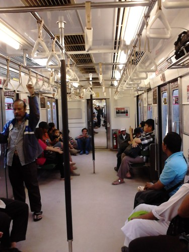 Inside the Jakarta Commuter Line on Saturday morning