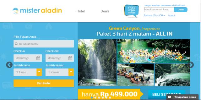 Halaman muka MisterAladin.com
