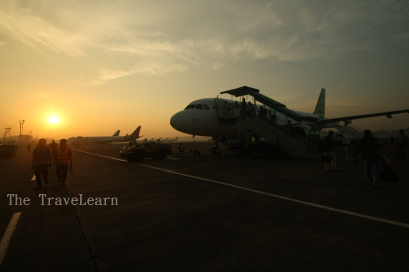 The sunrise while I was taking off, Halim Perdana Kusuma Airport - Jakarta