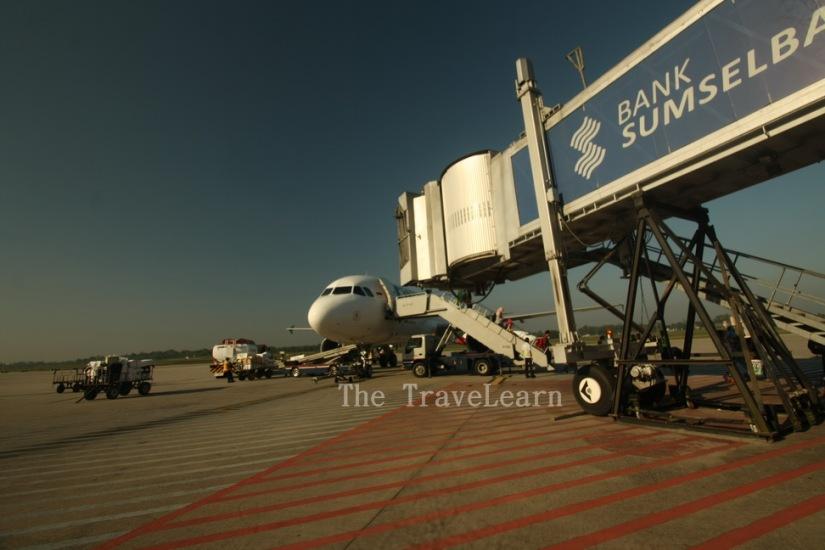 The plane landed smoothly at Sultan Mahmud Badaruddin II Airport, Palembang