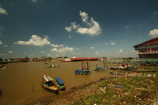 The brown Sungai Musi (Musi River)