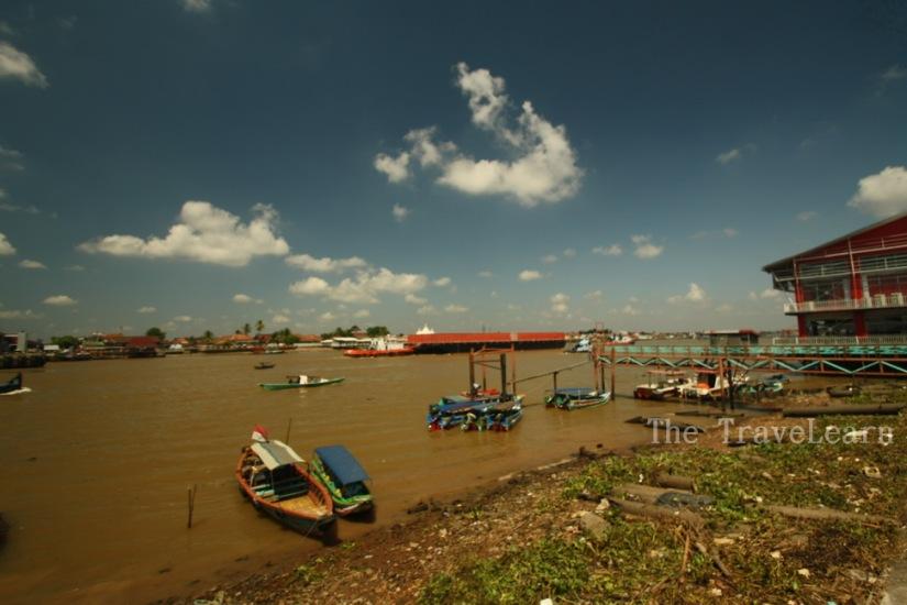 The brown Sungai Musi (Musi River)