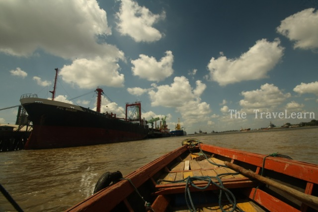 The harbor and the big ship at Musi River (Sungai Musi)