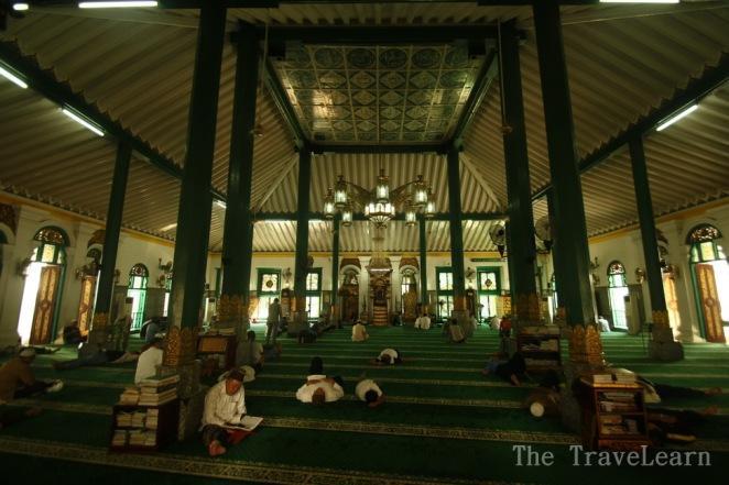 People praying inside the Great Mosque of Palembang