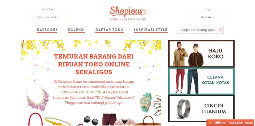 Tampilan depan Shopious.com