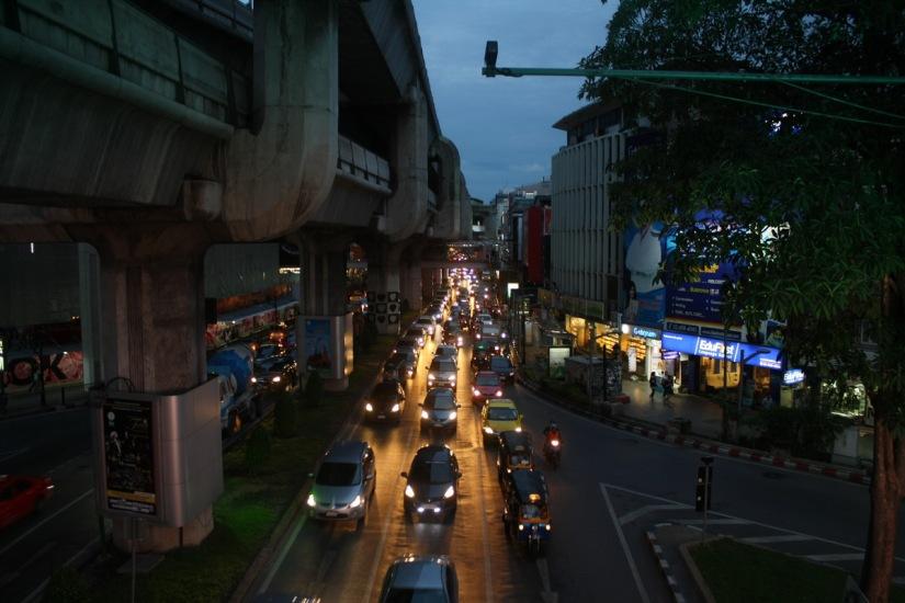 Common traffic at Siam, Bangkok