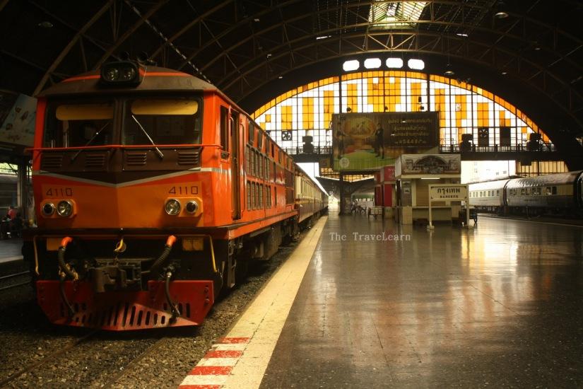 A typical Thai train at Hua Lamphong station, Bangkok