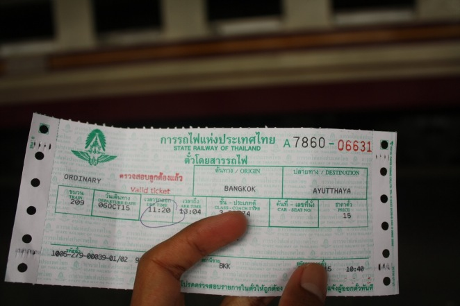 Our ticket to Ayutthaya, 15 THB one way