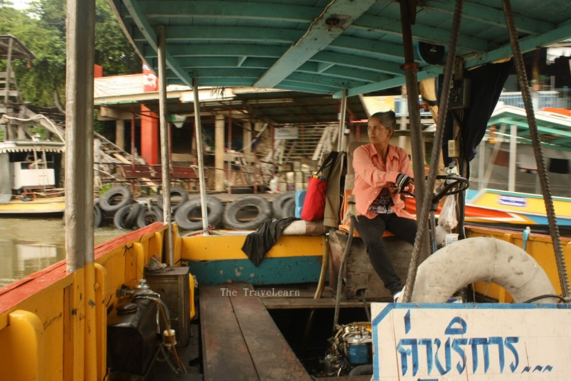 Crossing the river on a boat in Ayutthaya