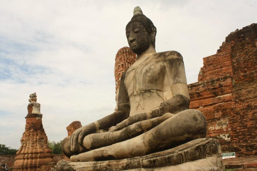 A Buddha image at Wat Mahathat, Ayutthaya