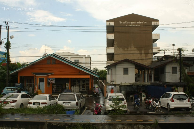 A typical Thai small town along the railway