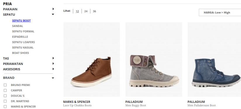 Koleksi sepatu boots pria di mapemall