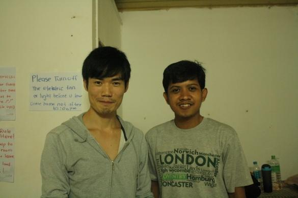 With Wataru Saito, a Japanese traveler who also stayed at Phearun's
