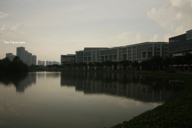The lake is in the middle of malls and apartments