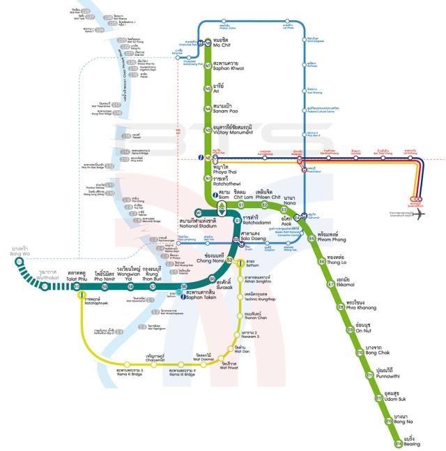 Rute BRT Bangkok ditunjukkan dengan garis kuning