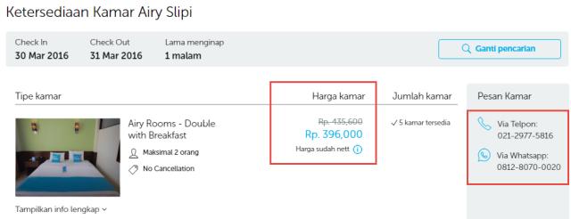 Harga kamar di Hotel Airy Slipi, Jakarta