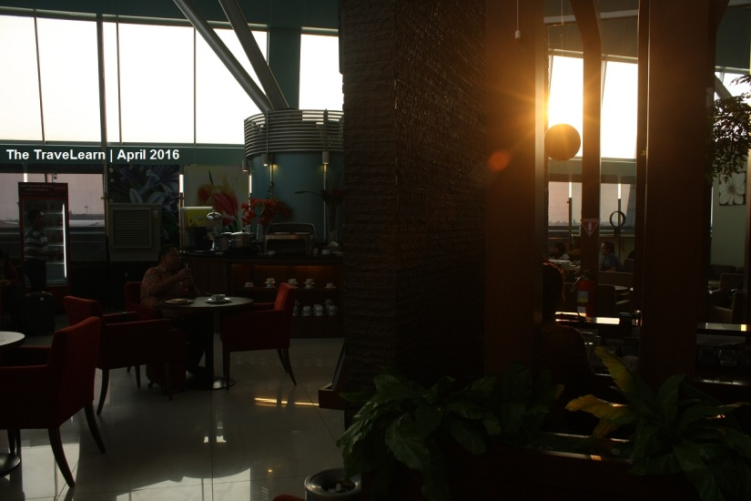 Inside the lounge of second floor, while the sun is setting its place