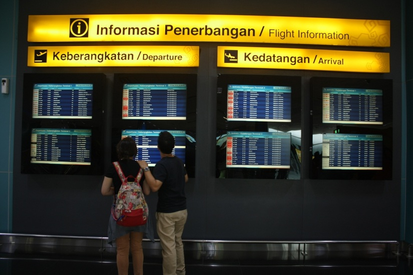 Flight Information at the right side after you pass the scanner gate
