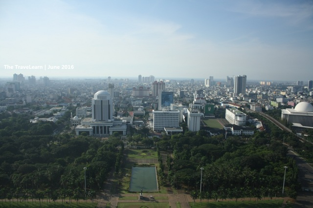"The ""foggy"" Jakarta skyscrapers, seen from the top of Monumen Nasional (Monas)"