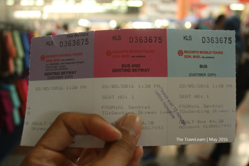 Genting Express Bus ticket bought at KL Sentral
