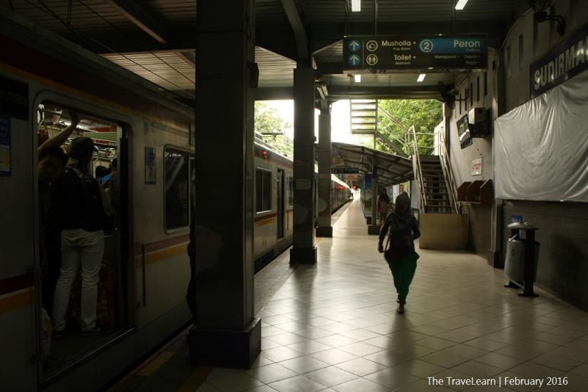 Passengers boarding at Sudirman Station